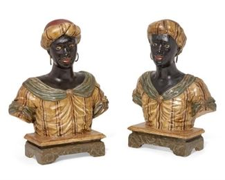 "A pair of Baroque style painted gesso and carved wood busts, 19th century valued between $2000 to $3000 each is 18""high. asking $900"