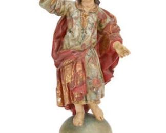 "An Italian baroque style painted gesso and cared wood figure, 19th century. Approximately 38"" tall.  Valued at $3000 - $5000 asking $1800"