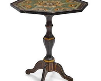 "An Italian faux pietra dura top painted wood table, 19th century.  31.5""h x 29"" diameter.  Valued at $2000 - $3000 asking $600 one foot needs repair"