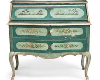 """An Italian rococo style painted decorated wood slat front desk, 18th century.  41.5""""h x 43.5""""w x 21""""d.  Valued at $3000 - $5000 asking $1200"""