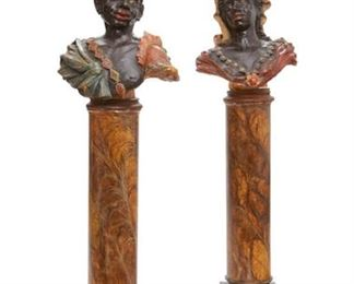"A pair of painted plaster busts on faux marble pedestals 19th/20th century. They measure 30""h x 24""w x 45.5"" high when on the pedestals.  Valued at $6000 - $8000"