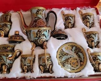 Gorgeous 24ct plated tea set-new in box!