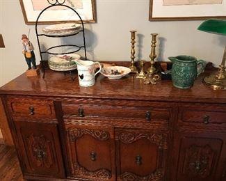 Buffet, Blue Ridge dinnerware, brass candle sticks, lamps