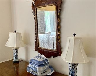 Chippendale mirror with eagle