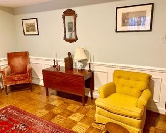Drop leaf table and vintage arm chairs