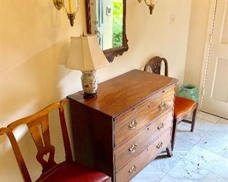 Antique dresser with Chippendale mirror