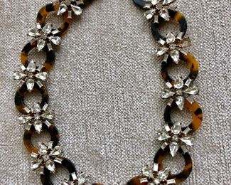 Faux tortoise and rhinestone necklace