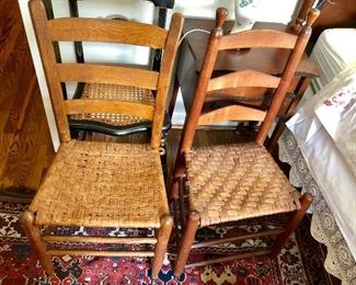 Woven wooden chairs
