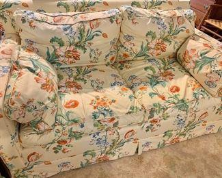 Pair of down stuffed sofas
