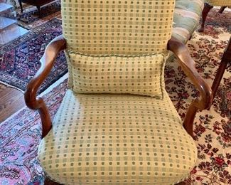 Pair of  arm chairs with green-dot upholstery