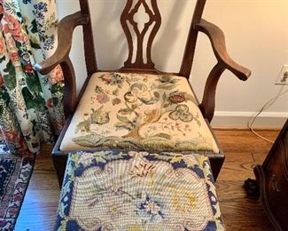 Armchair with needlepoint seat and needlepoint stool