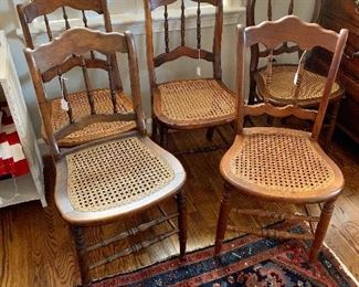 Variety of cane-seated  chairs