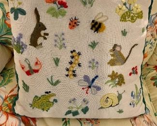 Needlepoint pillow with animals and bugs!