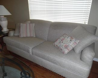 Lazyboy Sofa from White's Furniture, nail head trim, neutral beige/light tan fabric.  Purchased 9/17.  Like new condition