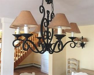 Fixture has matching sconces