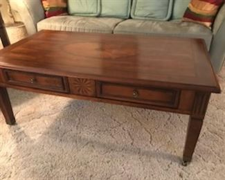 Another view of the coffee table. It has additional storage