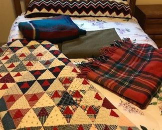Handmade quilt, army blanket and more