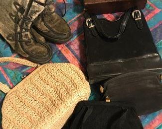Vintage handbags and fur boots
