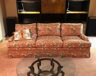 Asian theme coffee table,  floral couch and Chin Hua entertainment cabinet with two bookshelf units