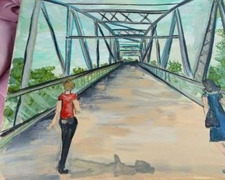 tbs original oil 2 women crossing a bridge