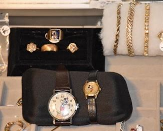Seiko and Bradley Mickey Mouse Watches, Gold Rings 2 with Diamonds.