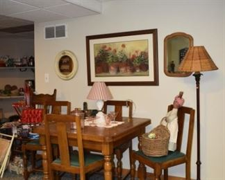 Great Antique Oak Table, Chairs, Art, Pink Depression, Floor Lamp, Mirror