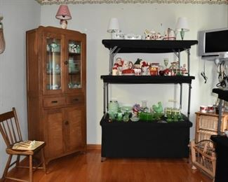 Settlers China Cabinet, Fire King, Vintage Dishes, Glassware