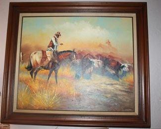 Original oil, western cowboy scene