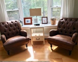Pair of genuine leather & tapestry easy chairs