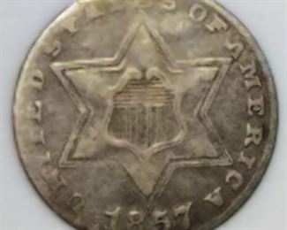 1857 Three Cent Silver - Three Outlines VF20