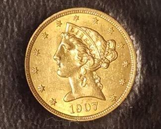 1907 Coronet Head Gold $5 Half Eagle UNC
