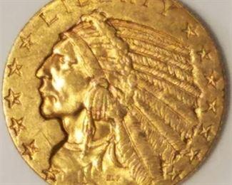 1912 Indian Head Gold $5 Half Eagle XF45