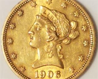 1908 Indian Head Gold $10 Eagle AU53