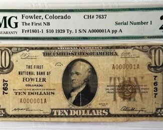 1929 $10 National Bank Note, Serial #1 PMG VF25