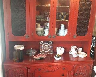 Ornate, red china hutch/buffet