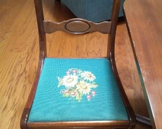 We have a set of 6 of these needlepoint chairs.  2 arm chairs and all have different floral seats