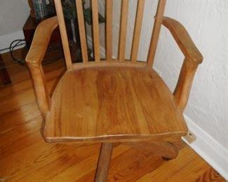 Vintage Oak Desk Office Chair