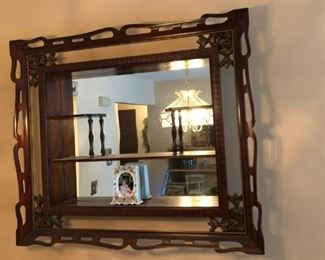 Antique Mirrored Wall Display