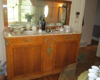 antique french side board with mirror