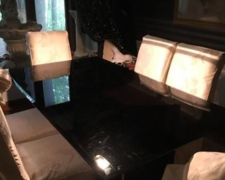Black Glass-Top Dining Table and Six Chairs w/ddUpholstered Seats & Fancy Covers