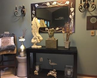 Black Hall Table, Wall Sconce Candles, Pedestals, Etc.