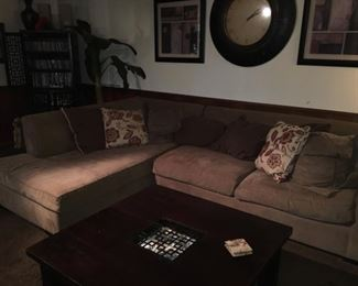 L-Shaped Large Sectional, Square Coffee Table, Impressive Wall-Clock,  etc.