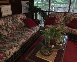 Tropical Fabric Sofa, Love Seat, & Coffee Table, Floral Arrangements