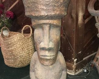 Large Stone/Cement Easter Island Type Idol (that's a quarter on his left thumb)