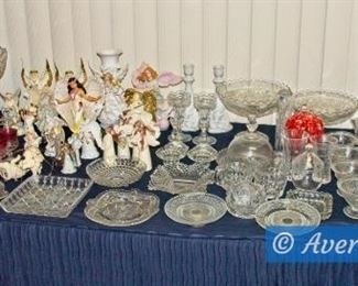Tables of Vintage Glassware and Figurines