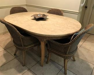WICKER & WOOD TABLE & CHAIR SET