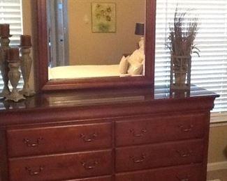 "Cherry Six Drawer Dresser w/ Mirror  ""Nice"""
