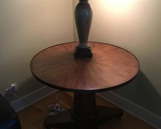 NICE INLAID TABLE WITH FREDERICK COOPER LAMP