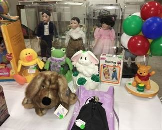 "Set of 4 collectible ""Our Gang"" dolls in plastic display boxes: Alfalfa, Spanky, Darla, Buckwheat. Winnie the Pooh table lamp."