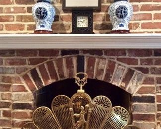 Brass Peacock Fireplace Screen